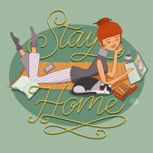 Stay Home. Un projet de Character Design, Illustration vectorielle, Dessin au cra , et on de Aurora Ramírez Collado - 03.05.2020