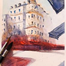 I love Paris. A Architektur, Bildende Künste, Malerei, Kreativität, Zeichnung und Aquarellmalerei project by Neus Roso - 04.05.2020