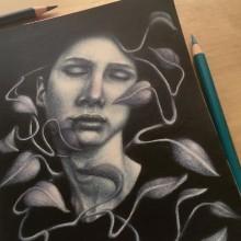 My final project: Retrato en claroscuro con lápices de colores. Um projeto de Ilustração, Desenho a lápis, Desenho, Ilustração de retrato, Desenho de Retrato e Desenho artístico de Marta Serrano Sánchez - 07.05.2020