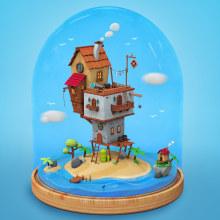 Mi Proyecto del curso: Creación de mundos 3D en miniatura con Procreate y Cinema 4D. A Illustration, and 3D project by alicamo - 05.14.2020
