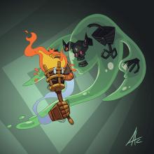 Mi Proyecto del curso - Diseño de personajes para videojuegos y aplicaciones: Sir Antorcha y Necrolimo. Un proyecto de Diseño de personajes de Asier Astorga Casado - 18.05.2020