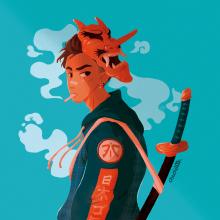 Oni mask Boy. Um projeto de Ilustração, Design de personagens, Desenho, Ilustração digital e Desenho digital de Sara Vilà Cardona - 18.05.2020