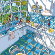 Italian Kitchen in the Mediterranean Light. Un progetto di Illustrazione, Architettura d'interni e Illustrazione architettonica di Carlo Stanga - 25.05.2020