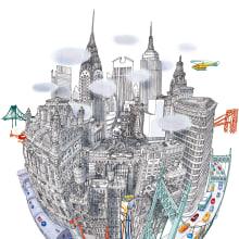 Embrace - MTA Poster - New York . Un progetto di Illustrazione, Design di poster  e Illustrazione architettonica di Carlo Stanga - 25.05.2020