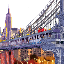 New York Bridges. A Illustration, Architecture, and Architectural illustration project by Carlo Stanga - 05.26.2020