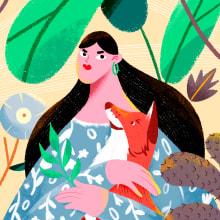 """""""WOMAN IN NATURE"""" - Mi Proyecto del curso: Ilustración flat con Photoshop. A Illustration, Grafikdesign, Zeichnung, Digitale Illustration, Digitales Design und Botanische Illustration project by Javier Dominguez Navarro - 05.06.2020"""