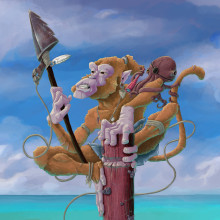 Mi Proyecto del curso: The Pirate Monkey. A Illustration, Animation, Character Design, Comic, Drawing, Digital illustration, and Concept Art project by Jaime Martin Tamayo - 06.09.2020