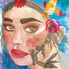 Mi Proyecto del curso: Retrato ilustrado en acuarela. Un proyecto de Pintura a la acuarela, Dibujo de Retrato y Pintura digital de Sandy Morales - 16.06.2020