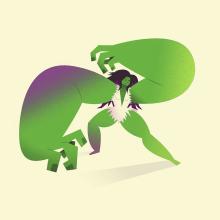 She-Hulk. Un progetto di Illustrazione, Character Design, Fumetto, Illustrazione vettoriale e Illustrazione digitale di Nathan Jurevicius - 18.06.2020