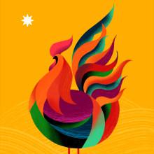 O galinho Rei-Rei. Un progetto di Illustrazione, Graphic Design , e Design di poster  di Pedro Araujo - 29.06.2020