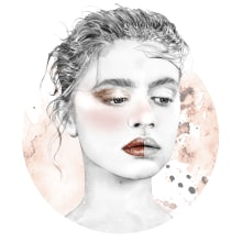 Make-up tutorial portraits for The Beauty Effect Magazine . A Illustration, Pencil drawing, Digital illustration, and Portrait illustration project by Amy Pearson - 06.30.2017