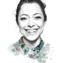 Self directed work - Portrait of Tatiana Maslany. A Illustration, Pencil drawing, Digital illustration, Portrait illustration, and Portrait Drawing project by Amy Pearson - 08.31.2017
