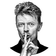 Bowie. Un proyecto de Bellas Artes, Ilustración digital, Dibujo de Retrato y Dibujo realista de Pako Martinez - 04.06.2019