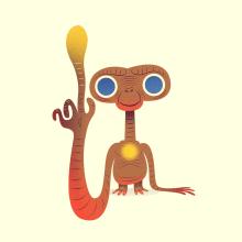 E.T. the Extra-Terrestrial. Un progetto di Illustrazione, Cinema, video e TV, Character Design, Illustrazione vettoriale e Illustrazione digitale di Nathan Jurevicius - 03.07.2020