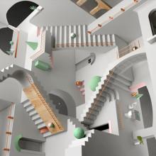 Escher Relatividad. A Illustration, 3D, Art Direction & Industrial Design project by Francisco Cortés - 08.17.2018