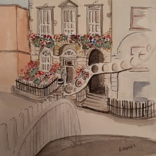 My project in Architectural Sketching with Watercolor and Ink course. A Animation, Digital illustration, Concept Art, Artistic drawing, Children's Illustration, and Architectural illustration project by Amanda Hughes - 07.13.2020