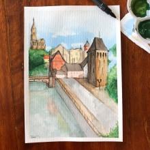My project in Architectural Sketching with Watercolor and Ink course (Estrasburgo, França). Un proyecto de Ilustración arquitectónica de Rafaella Miranda - 14.07.2020