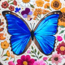 Blue Morpho Butterfly. A Stickerei project by Emillie Ferris - 14.06.2018