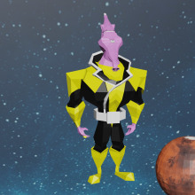 Yellow Lantern: Modelado de personajes low poly para videojuegos . Um projeto de 3D de Matías Bavastro - 18.07.2020