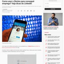 Matéria Exame.com sobre lançamento do LinkedIn Stories . Un proyecto de Comunicación de Rodrigo Focaccio - 21.05.2020