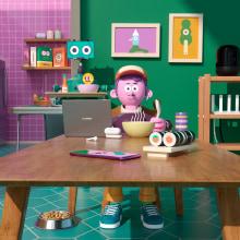 COCINA CON HUAWEI. A Design, Illustration, 3-D, Animation von Figuren, 3-D-Animation und 3-D-Design project by Aarón Martínez - 25.08.2020
