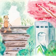 Mi Proyecto del curso: Ilustración en acuarela con influencia japonesa. Un proyecto de Ilustración, Bellas Artes y Pintura a la acuarela de Isi Cano - 30.03.2020
