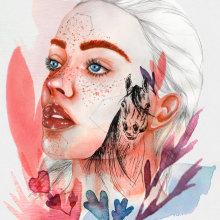 Mi Proyecto del curso: Retrato ilustrado en acuarela. Un progetto di Belle arti, Disegno, Pittura ad acquerello, Disegno di ritratto, Disegno artistico , e Disegno digitale di Abril Ventrice - 16.09.2020