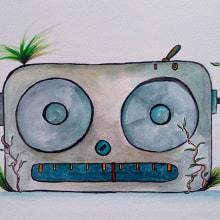 Radio robot. Un proyecto de Diseño de juguetes, Pintura a la acuarela, Videojuegos, Diseño de videojuegos y Desarrollo de videojuegos de Isi Cano - 20.08.2020