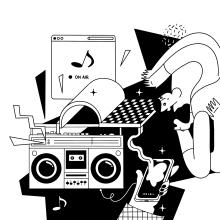 Radio. Un projet de Illustration, Conception éditoriale, Design graphique, Illustration vectorielle, Dessin, Illustration numérique , et Dessin numérique de Sonia Cabré - 21.09.2020