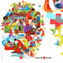 SORTEO DE ORO CRUZ ROJA 2020. Un proyecto de Ilustración, Ilustración vectorial e Ilustración digital de Juanma García Escobar - 23.09.2020