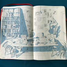SKETCH FOR MY NEW STUDIO. A Illustration, Interior Design, Sketching, Pencil drawing, Architectural illustration, and Sketchbook project by Carlo Stanga - 09.30.2020