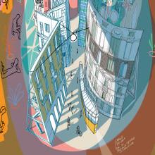 PICCOLO TEATRO MILANO. A Illustration, Poster Design, and Architectural illustration project by Carlo Stanga - 09.30.2020