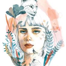 Illustrated Portrait in Watercolor - my 2 portraits. A Illustration, Watercolor Painting, Portrait illustration, Portrait Drawing, and Artistic drawing project by Karolina Pajnowska - 10.19.2020