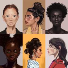 30 minute Portrait studies. Um projeto de Desenho de Retrato, Desenho digital e Pintura digital de Ksenia - 10.07.2020