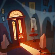 La casa embrujada. Un proyecto de Ilustración, Diseño de personajes, Ilustración digital, Stor, telling y Concept Art de Gaby Zermeño - 20.10.2020