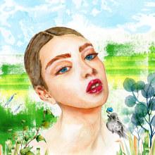 Simbiosis. Mi Proyecto del curso: Retrato ilustrado en acuarela. A Illustration project by Loli Crespo - 10.30.2020