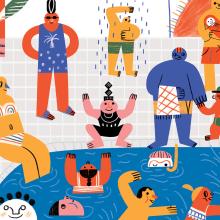 Mural SESC Santo Amaro. Um projeto de Design de personagens, Pattern Design, Desenho, Decoração de interiores, Ilustração infantil e Ilustração editorial de Ana Matsusaki - 02.11.2020