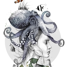 Octopus Vulgaris Illustration. A Illustration, Pencil drawing, Digital illustration, Watercolor Painting, and Portrait illustration project by Amy Pearson - 11.06.2020