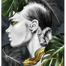 Snake Digital Illustration. A Illustration, Digital illustration, Portrait illustration, and Digital Drawing project by Amy Pearson - 11.06.2020