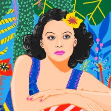 Aniversario del nacimiento de Hedy Lamarr. Um projeto de Ilustração de Gisele Murias - 09.11.2020