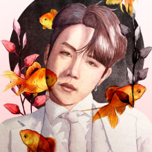 El rayo de luz de Gwangju. Um projeto de Pintura em aquarela, Ilustração de retrato, Desenho de Retrato e Ilustração botânica de Scarleth Gómez Oviedo - 13.11.2020