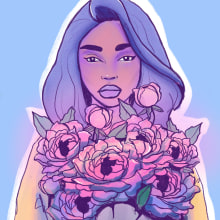 A Sky From The Florist. A Illustration, Digital illustration, Portrait illustration, and Editorial Illustration project by Veronica Lissandrini - 12.09.2020