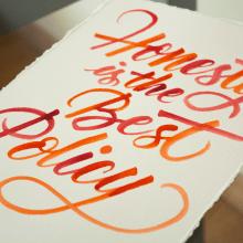 Lámina con caligrafía itálica con brush pen y acuarela.. Un proyecto de Caligrafía y Caligrafía con brush pen de Javier Piñol - 20.11.2020