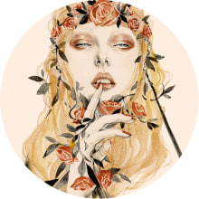Flower Portrait. A Illustration, Fashion, Painting, Portrait Drawing, Artistic drawing, and Gouache Painting project by Connie Lim - 08.09.2019