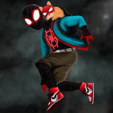Spiderman Miles Morales with Spider-cat. Um projeto de Ilustração, Design de personagens e Concept Art de Nicolás Camilo Arias - 18.12.2020