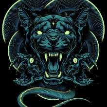 Cougar X Snakes. A Illustration, and Digital illustration project by Daniele Caruso - 12.22.2020