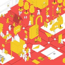 """Oficinas piloto """"Hotel Madrid"""". Un proyecto de Diseño gráfico, Diseño de interiores y Creatividad de Alejandro Mazuelas Kamiruaga - 20.12.2020"""