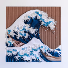 LA GRAN OLA DE KANAGAWA. A Illustration, H, werk und Kartonmodellbau project by Noelia Barreda - 01.12.2020