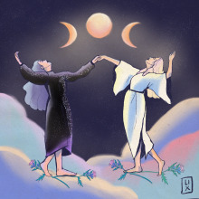 Moon Goddesses. A Illustration, Digital illustration, and Editorial Illustration project by Veronica Lissandrini - 12.30.2020