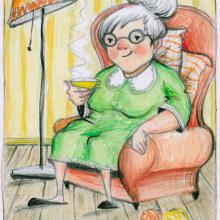 Old ladies :). Un progetto di Illustrazione, Character Design, Pittura ad acquerello, Illustrazione di ritratto e Illustrazione infantile di Dina Selisiou - 05.01.2021